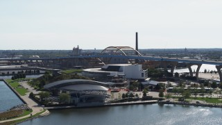 DX0002_149_014 - 5.7K stock footage aerial video of passing concert venues in Downtown Milwaukee, Wisconsin