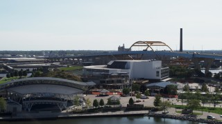 DX0002_149_015 - 5.7K stock footage aerial video descend and flyby concert venues in Downtown Milwaukee, Wisconsin