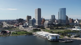 DX0002_149_022 - 5.7K stock footage aerial video descend with a view of city buildings near the waterfront museum in Downtown Milwaukee, Wisconsin