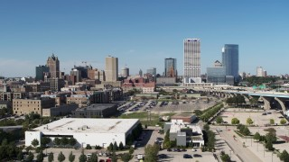 DX0002_149_037 - 5.7K stock footage aerial video of the city's skyline in Downtown Milwaukee, Wisconsin