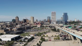 DX0002_149_039 - 5.7K stock footage aerial video of approaching the city's skyline in Downtown Milwaukee, Wisconsin