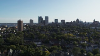 DX0002_150_001 - 5.7K stock footage aerial video of a wide view of the city's skyline in Downtown Milwaukee, Wisconsin