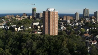 DX0002_150_008 - 5.7K stock footage aerial video of orbiting around an apartment complex in Milwaukee, Wisconsin