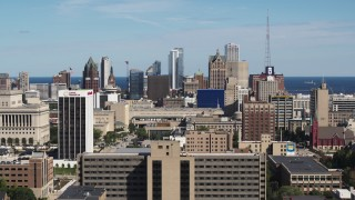 DX0002_152_001 - 5.7K stock footage aerial video of a wide view of the city's skyline in Downtown Milwaukee, Wisconsin