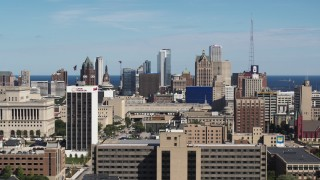 DX0002_152_003 - 5.7K stock footage aerial video of the city's skyline in Downtown Milwaukee, Wisconsin seen from the university