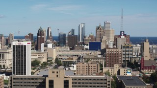 DX0002_152_004 - 5.7K stock footage aerial video of the Downtown Milwaukee, Wisconsin skyline seen from the university