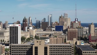 DX0002_152_005 - 5.7K stock footage aerial video of flying by the city's skyline in Downtown Milwaukee, Wisconsin seen from the university