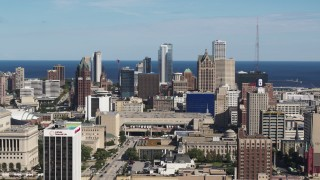 DX0002_152_007 - 5.7K stock footage aerial video of slowly flying by the city's skyline in Downtown Milwaukee, Wisconsin