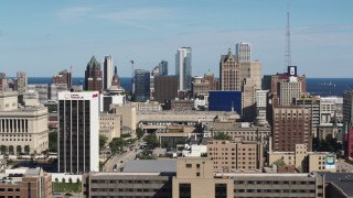 DX0002_152_008 - 5.7K stock footage aerial video of slowly passing the city's skyline in Downtown Milwaukee, Wisconsin