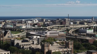DX0002_152_009 - 5.7K stock footage aerial video of light traffic on I-794 interchange in Downtown Milwaukee, Wisconsin