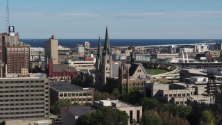 DX0002_152_011 - 5.7K stock footage aerial video of the Church of the Gesu in Downtown Milwaukee, Wisconsin