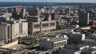 DX0002_152_018 - 5.7K stock footage aerial video of a courthouse in Milwaukee, Wisconsin