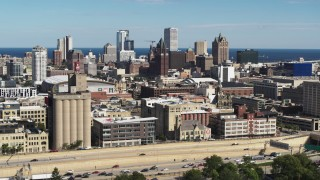 DX0002_152_020 - 5.7K stock footage aerial video of the city's skyline in Downtown Milwaukee, Wisconsin, seen from I-43