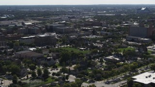 DX0002_152_024 - 5.7K stock footage aerial video of apartment buildings around Norris Park in Milwaukee, Wisconsin