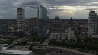 DX0002_154_005 - 5.7K stock footage aerial video of approaching skyscrapers from the art museum by Lake Michigan in Downtown Milwaukee, Wisconsin