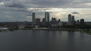 DX0002_154_012 - 5.7K stock footage aerial video of the city's waterfront skyline seen from Lake Michigan in Downtown Milwaukee, Wisconsin
