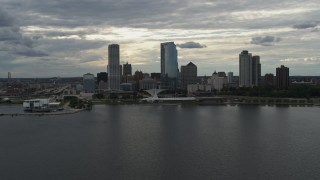 DX0002_154_013 - 5.7K stock footage aerial video of the city's lakefront skyline seen from Lake Michigan in Downtown Milwaukee, Wisconsin