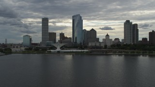 DX0002_154_014 - 5.7K stock footage aerial video approach city's waterfront skyline from Lake Michigan in Downtown Milwaukee, Wisconsin