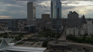 DX0002_154_019 - 5.7K stock footage aerial video of flying by tall skyscrapers in Downtown Milwaukee, Wisconsin