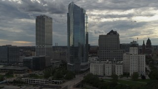 DX0002_154_025 - 5.7K stock footage aerial video of a view of tall skyscrapers, Downtown Milwaukee, Wisconsin