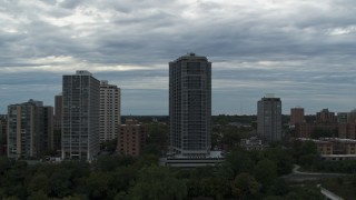 DX0002_154_027 - 5.7K stock footage aerial video of a condominium high-rise in Milwaukee, Wisconsin
