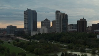 DX0002_155_001 - 5.7K stock footage aerial video the city's skyline at sunset, Downtown Milwaukee, Wisconsin