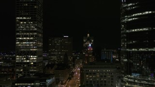 DX0002_157_054 - 5.7K stock footage aerial video flyby Wisconsin Avenue and skyscrapers at night, Downtown Milwaukee, Wisconsin