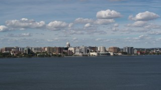 DX0002_158_001 - 5.7K stock footage aerial video a wide view of the city from Lake Monona, Madison, Wisconsin