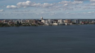 DX0002_158_002 - 5.7K stock footage aerial video a wide view of lakefront city buildings in Madison, Wisconsin