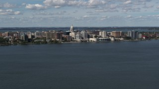 DX0002_158_003 - 5.7K stock footage aerial video of lakefront city buildings in Madison, Wisconsin