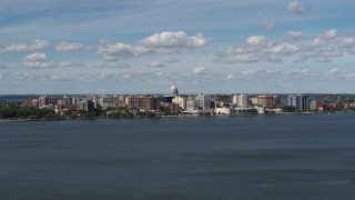 DX0002_158_008 - 5.7K stock footage aerial video slowly passing lakefront city buildings in Madison, Wisconsin
