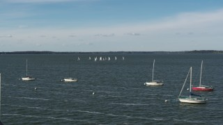 DX0002_160_039 - 5.7K stock footage aerial video a low orbit of a group of sailboats on Lake Mendota, Madison, Wisconsin