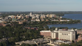 DX0002_161_007 - 5.7K stock footage aerial video of the capitol dome and downtown seen from hospital, Madison, Wisconsin