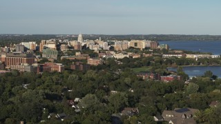 DX0002_161_009 - 5.7K stock footage aerial video wide view of the capitol dome and downtown, Madison, Wisconsin