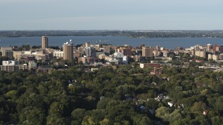 DX0002_161_016 - 5.7K stock footage aerial video of a wide orbit of the lakeside university campus, Madison, Wisconsin