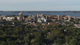 DX0002_161_018 - 5.7K stock footage aerial video of the lakeside university campus while descending, Madison, Wisconsin