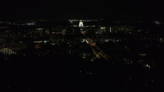 DX0002_163_004 - 5.7K stock footage aerial video view of capitol at night while passing Washington Avenue, Madison, Wisconsin