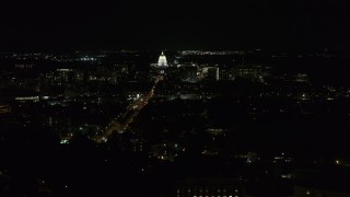 DX0002_163_010 - 5.7K stock footage aerial video of Wisconsin State Capitol at the end of Washington Ave at night, Madison, Wisconsin