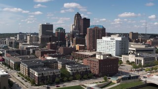 DX0002_165_001 - 5.7K stock footage aerial video the city's skyline seen from office buildings in Downtown Des Moines, Iowa