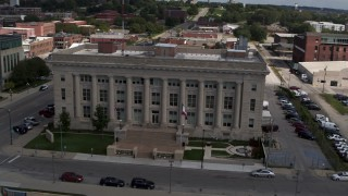 DX0002_165_008 - 5.7K stock footage aerial video an orbit of the Des Moines Police Department building in Des Moines, Iowa