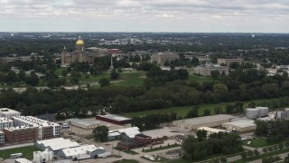 DX0002_165_026 - 5.7K stock footage aerial video of a wide view of the Iowa State Capitol and grounds in Des Moines, Iowa
