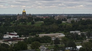 DX0002_165_040 - 5.7K stock footage aerial video descend with a view of the Iowa State Capitol and grounds in Des Moines, Iowa
