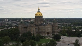 DX0002_165_041 - 5.7K stock footage aerial video of orbiting the Iowa State Capitol in Des Moines, Iowa
