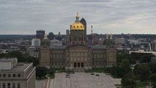 DX0002_165_042 - 5.7K stock footage aerial video of an orbit of the Iowa State Capitol in Des Moines, Iowa