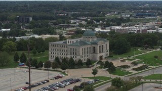 DX0002_166_003 - 5.7K stock footage aerial video of circling the Iowa Court of Appeals in Des Moines, Iowa