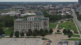 DX0002_166_004 - 5.7K stock footage aerial video orbit the side of the Iowa Court of Appeals in Des Moines, Iowa