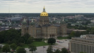 DX0002_166_008 - 5.7K stock footage aerial video of orbiting around the Iowa State Capitol in Des Moines, Iowa