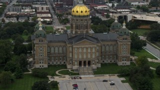 DX0002_166_010 - 5.7K stock footage aerial video orbit the front of the Iowa State Capitol in Des Moines, Iowa