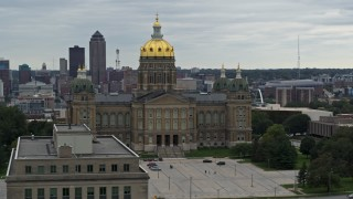 DX0002_166_012 - 5.7K stock footage aerial video orbiting the front of the Iowa State Capitol, skyline in the background, Des Moines, Iowa