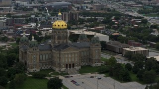 DX0002_166_015 - 5.7K stock footage aerial video a stationary view of the Iowa State Capitol, Des Moines, Iowa